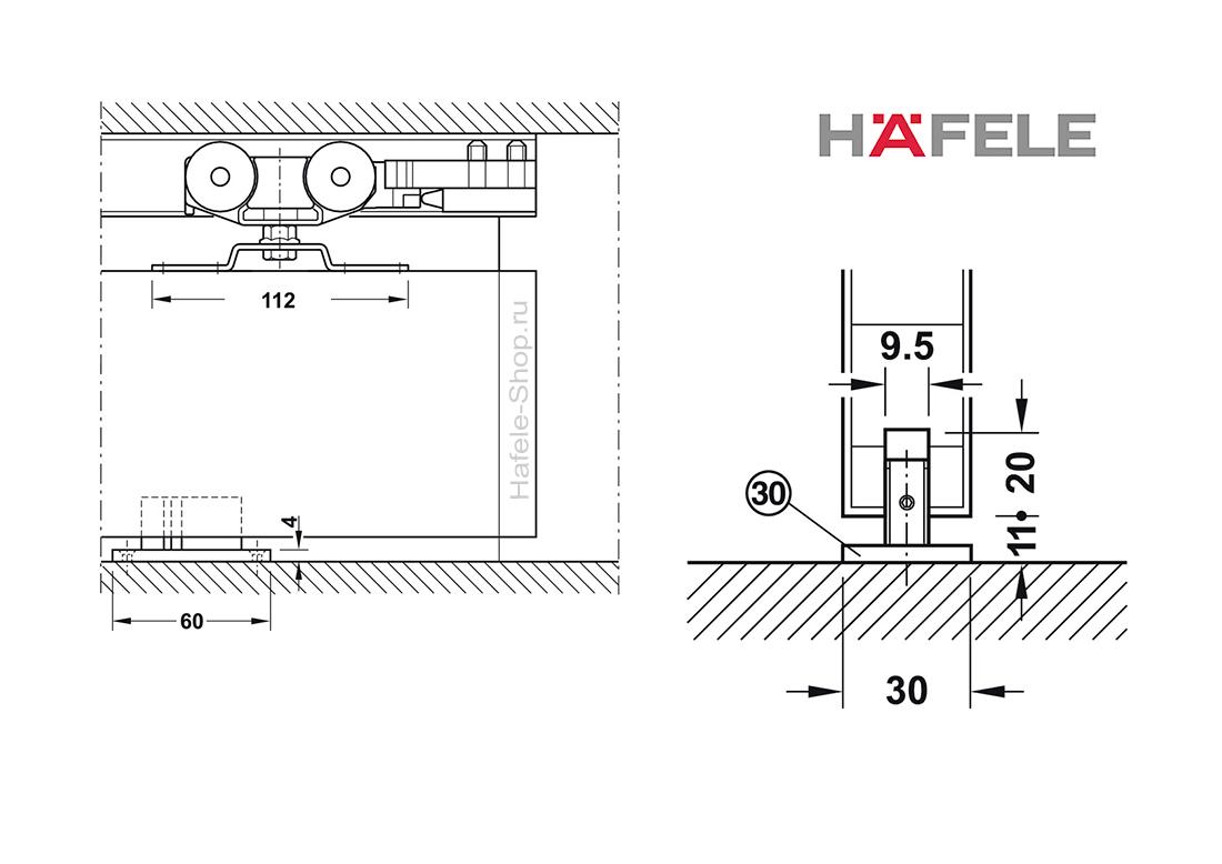 Механизм раздвижной двери из древесины, HAFELE Slido D-Line11 80P. Вес двери до 80 кг. Без демпфера.