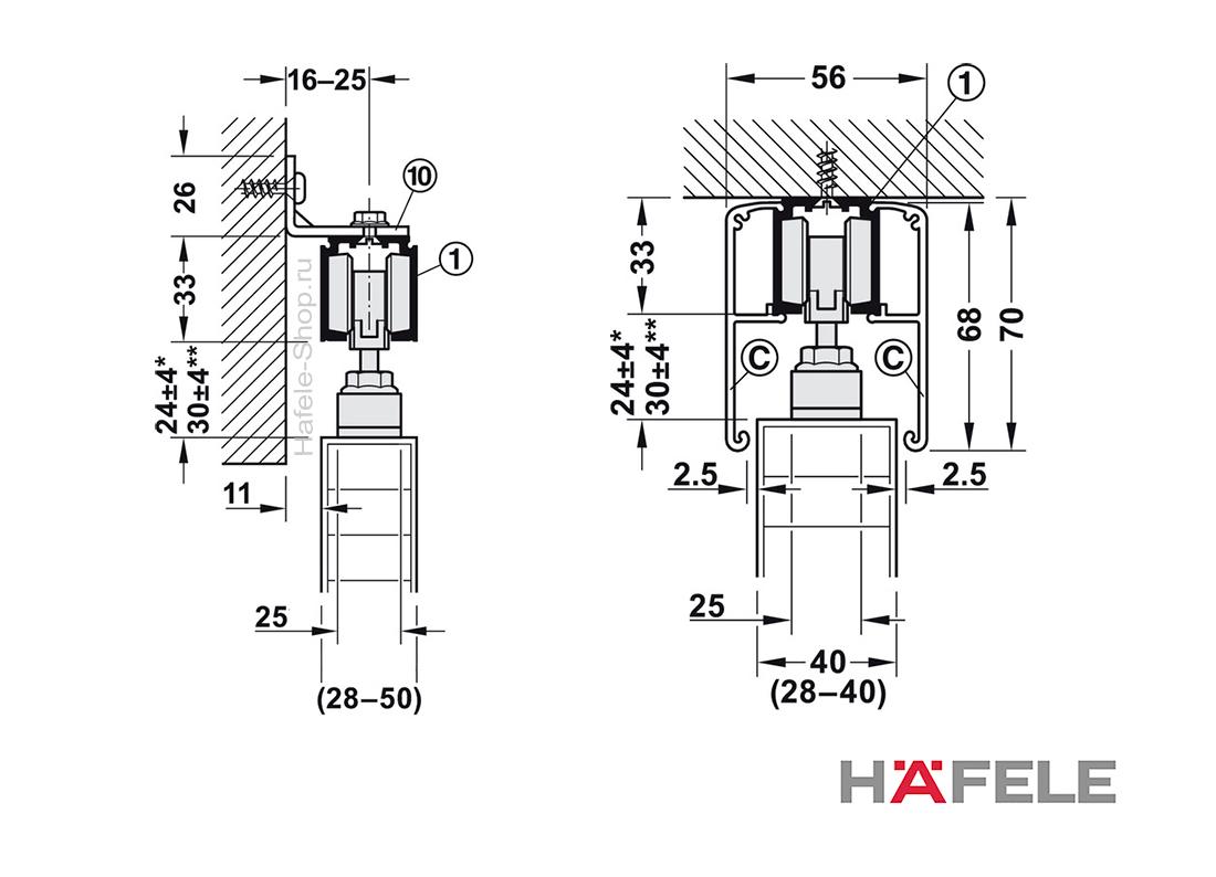 Механизм раздвижной двери из древесины, HAFELE Slido D-Line11 120P. Вес двери до 120 кг. Без демпфера.