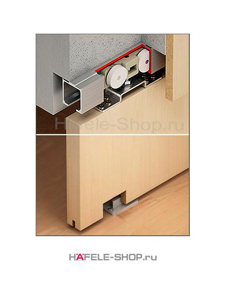 Механизм раздвижной двери из древесины, HAFELE Classic 240-P. Вес двери до 240 кг. Без демпфера.