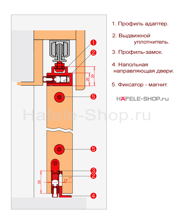 Уплотнитель раздвижной двери, в комплекте верхний и нижний, для двери шириной 833 - 958 мм